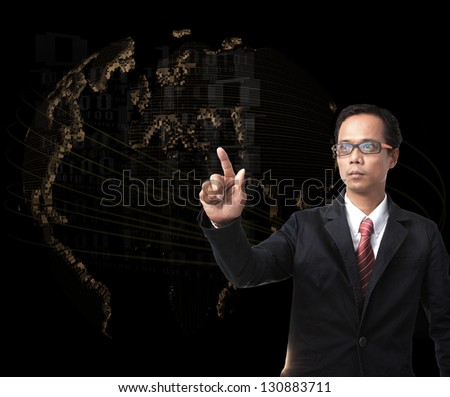 young man pointing to forward with world digital map on background use for high technology scene