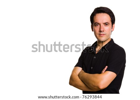Young man portrait, isolated on white - stock photo
