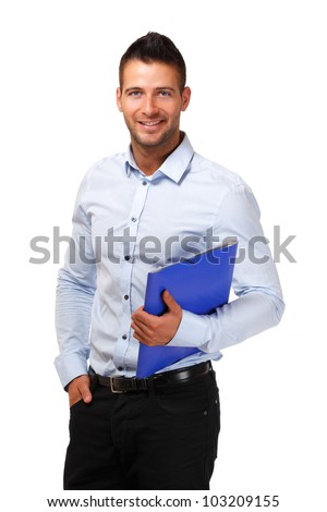 young man posing in studio - stock photo