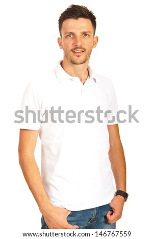 Young man posing in white t-shirt isolated on white background