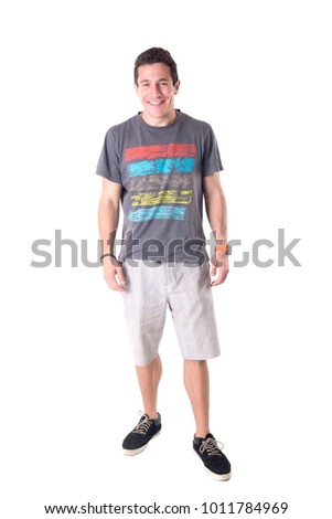 young man posing isolated in white