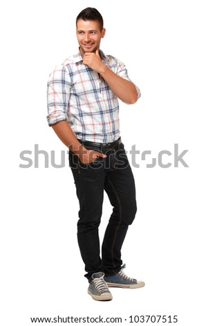 young man posing, isolated on white