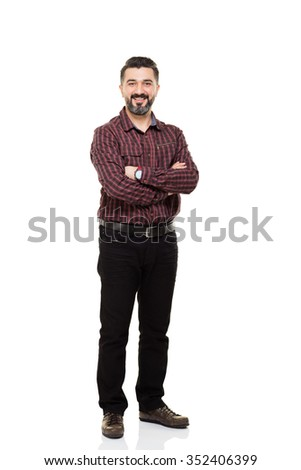 Young man posing on white background. - stock photo