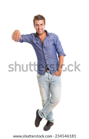 Young man presenting your product, isolated over a white background