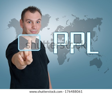 Young man press digital Pay per Lead button on interface in front of him - stock photo