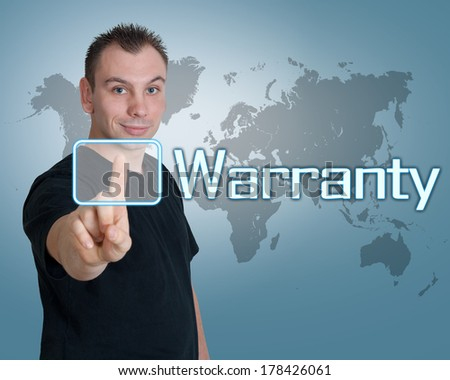 Young man press digital Warranty button on interface in front of him