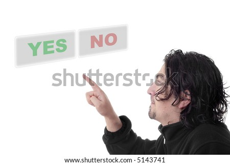 young man presses the yes or no keys - stock photo