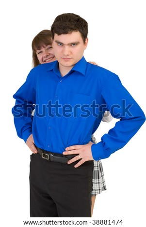 Young man protects the weak woman on white - stock photo