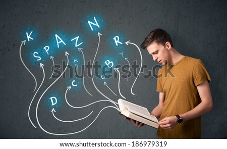Young man reading a book while multiple choices are coming out of the book - stock photo