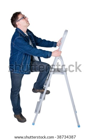 Young man ready to climb a ladder (isolated on white) - stock photo