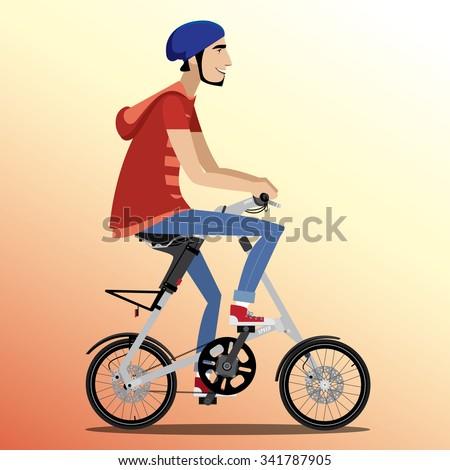 Young man rides on fashionable folding bike   raster version - stock photo