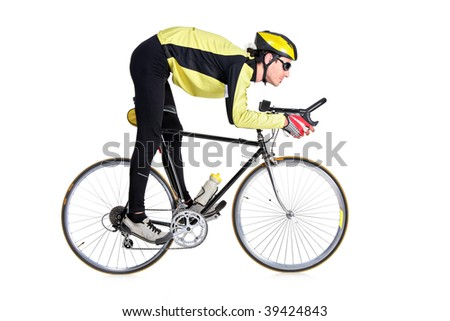 Young man riding a bicycle isolated on white background