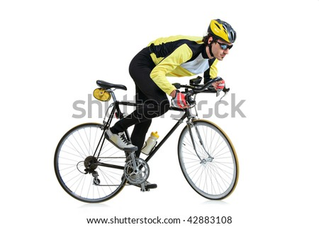 Young man riding a bicycle isolated on white background - stock photo