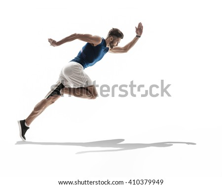 young man runner jogger running. dynamic movement. isolated - stock photo