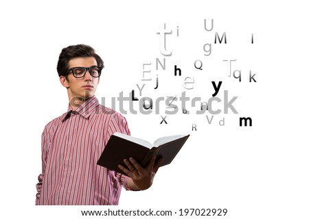 young man scientist holding an open book in front, isolated on white background - stock photo