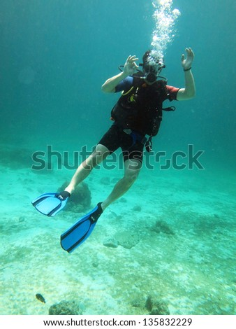 Young Man Scuba Diver between Water Surface