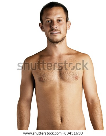 young man shirtless on a white background - stock photo
