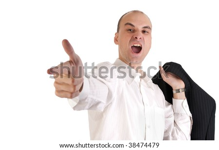 Young man shooting a finger of a hand - stock photo