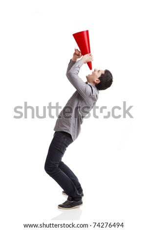 Young man shouting into a megaphone over a white background