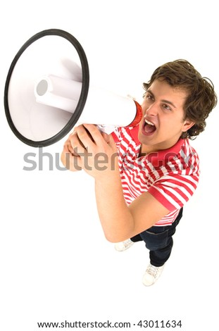 Young Man Shouting Through Megaphone - stock photo