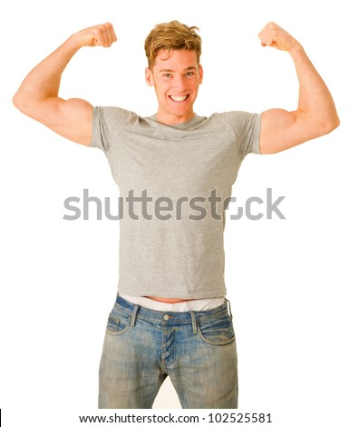 young man showing his biceps - stock photo