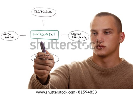 Young man showing ways to protect the environment. - stock photo