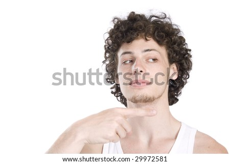 Young man shows direction - stock photo