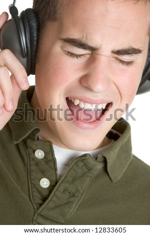 Young Man Singing - stock photo