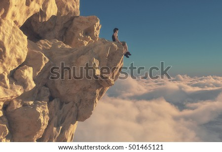 Young man sitting on the edge of a mountain looking over the clouds. This is a 3d render illustration