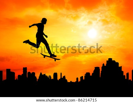young man skateboarder jumping over the city during sunset silhouetted, extreme sport - stock photo