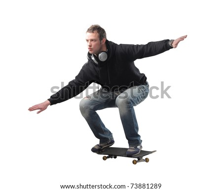 Young man skating