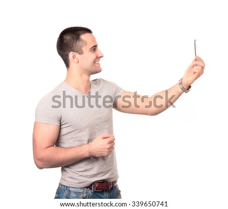 Young man smile and selfie