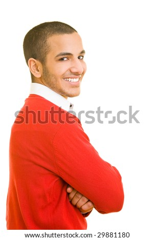 Young man smiling into the camera - stock photo