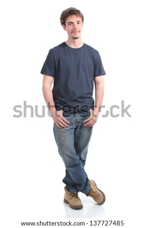 Young man smiling with his hands in the pockets on a white isolated background - stock photo