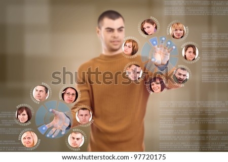 Young man sorting her social network friends circle - stock photo