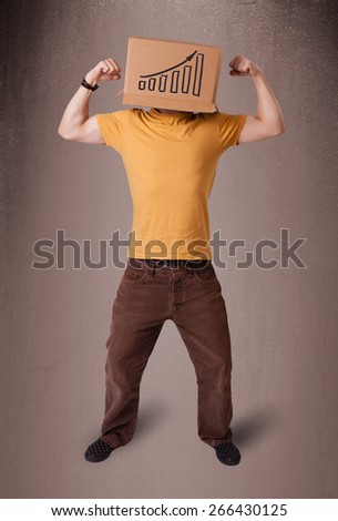 Young man standing and gesturing with a cardboard box on his head with diagram - stock photo