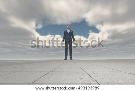 Young man standing and looking up to the sky with hole in the clouds. This is a 3d render illustration