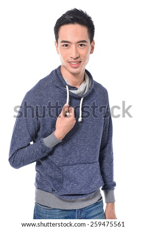 young man standing in jeans posing on white background - stock photo