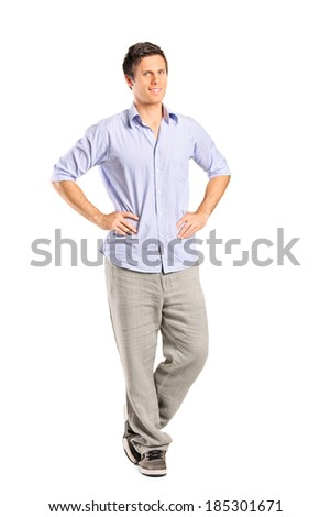 Young man standing isolated on white background - stock photo