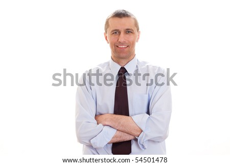 young man standing on a white background - stock photo