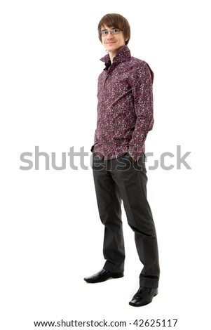 Young man standing. Wearing shirt and trousers. Isolated over white - stock photo