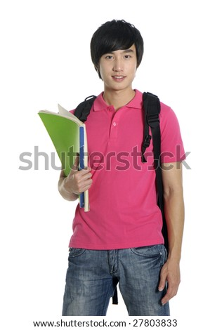 Young man standing with book and bag - stock photo