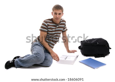 Young man studying, isolated over white background