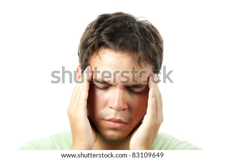 young man suffering from a headache isolated on white background - stock photo