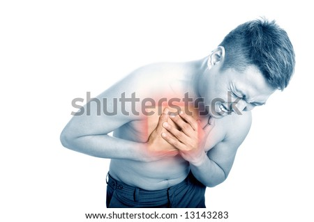 Young man suffering from chest pain. - stock photo
