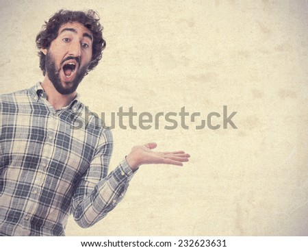 young man surprised and show gesture - stock photo
