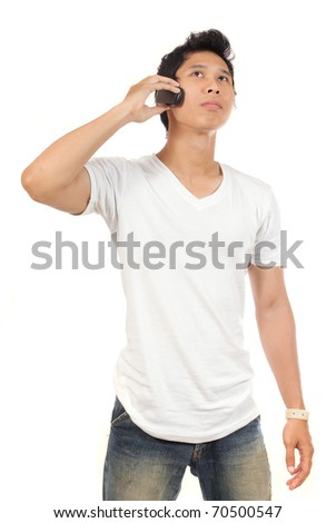 young man talking on the phone - stock photo