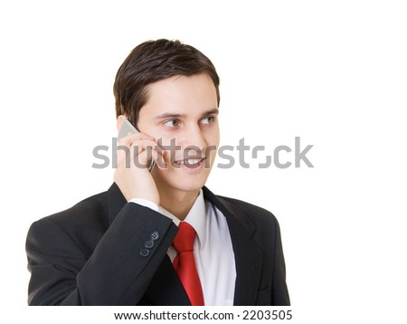 Young man talking on the phone, isolated - stock photo