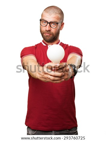 young man thinking with light bulb