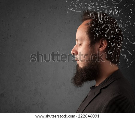 Young man thinking with white abstract lines and symbols